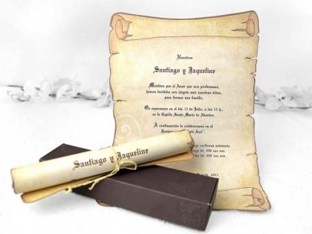 Invitación de boda pergaminoen caja 32830