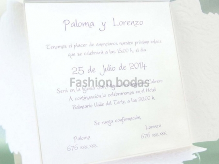Invitación de boda romantica corazon 33310