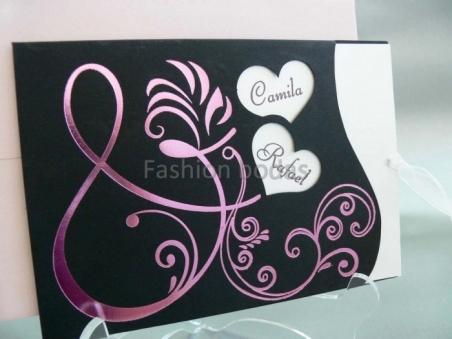 Invitación de boda barata elegante negra 33730